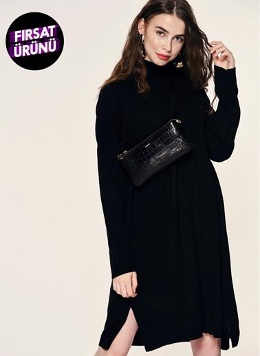 Loves You Dik Yaka Tunik Elbise Siyah